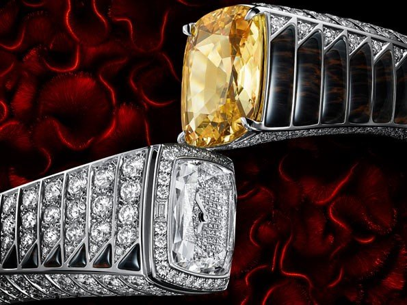 Cartier - Watch with yellow sapphire and obsidians