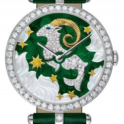 Lady Arpels Zodiac Capricorn. Dial: white and yellow gold, white and yellow diamonds, translucent enamel, mother-of-pearl. Dark green alligator bracelet. © Van Cleef & Arpels