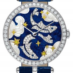 Lady Arpels Zodiac Pisces. Dial: white and yellow gold, white and yellow diamonds, translucent enamel, mother-of-pearl. Dark blue alligator bracelet. © Van Cleef & Arpels