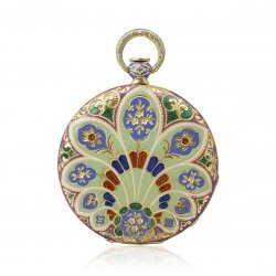 India. 1831 – Pocket watch, yellow gold, champlevé enamelled case, in line engraving. Guilloché dial.