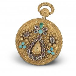 Ottoman. 1824 - Pocket watch, pink gold, floral-pattern chased case and appliques engraved using the pounced ornament technique, embellished with turquoises and amethysts. Pink gold dial.