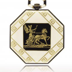 Greece. 1921 - Pocket watch, yellow gold and enamel, back adorned with Hellenistic-style frieze featuring a champlevé enamelled scene depicting Hermes on his chariot. Silvered dial.