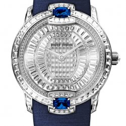 Velvet Haute Joaillerie, white gold, diamonds  and blue sapphires   © Roger Dubuis