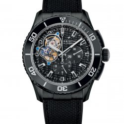 El Primero Stratos Spindrift Racing. DLC-coated steel case. Black fabric-clad rubber strap with triple-blade folding clasp in black PVD-coated steel. Ref. 75.2060.4061/21.R573  © Zenith