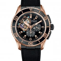 El Primero Stratos Spindrift Racing. 18ct rose gold and titanium case. Black fabric-clad black rubber strap and triple-blade folding clasp in black PVD-coated steel. Ref. 75.2060.4061/21.R573  © Zenith