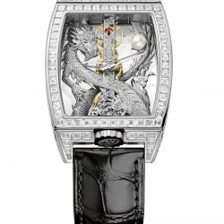 Golden Bridge Dragon, ref. B113/02354, white gold, 80 baguette diamonds on the top of the case, and 312 round diamonds on the sides  © Corum