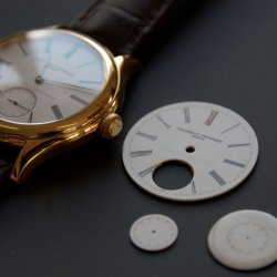 The parts of theGrand Feu enamel dial of the Galet Tourbillon, made in-house at Laurent Ferrier © Laurent Ferrier