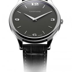 Chopard's L.U.C. XP opts for aesthetic restraint with a completely uniform grey dial and applied grey hour-markers. © Chopard