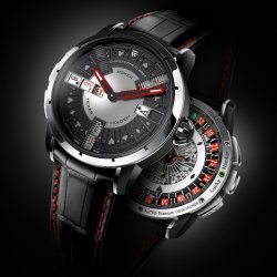 At Christophe Claret, the grey dial with its red hands is more than simply a colour choice, it has become an aesthetic message. © Christophe Claret