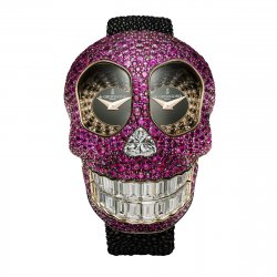 Crazy Skull S01,  pink gold and rubies  © de Grisogono