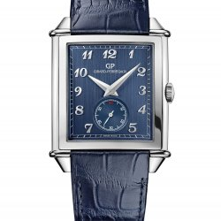 Vintage 1945 XXL Petite Seconde, blue, leather strap. © Girard-Perregaux