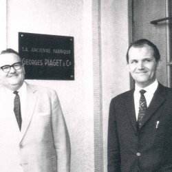 Gérald Piaget and Valentin Piaget in front of the Piaget Manufacture in La Côte-aux-Fées in the 1950's ©Piaget Archives
