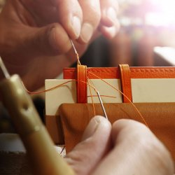 Leather Strap - Hermès - Hand stitching the loops