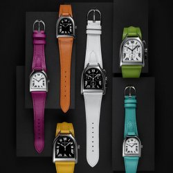 Ralph Lauren Stirrup timepieces in stainless steel with vibrant colored leather straps