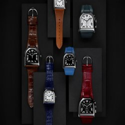 Ralph Lauren Stirrup timepieces in stainless steel with intense colored calf and alligator leather straps