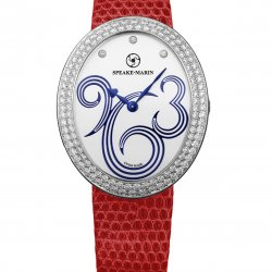 Shenandoah, ref. SH38SW01-D. Case and bezel in 18K white gold. 122 brillants-cut diamonds (1.70 cts). Dial with blue Arabic numbers with 3 brillant-cut diamonds ( 0.03 cts). Colored snake strap.