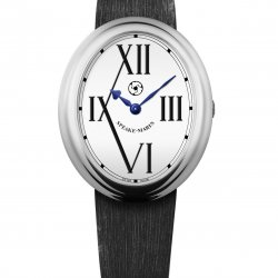 Shenandoh, ref. SH38SW20. Case in 18K white gold. White dial with black roman numerals. Satin, allig