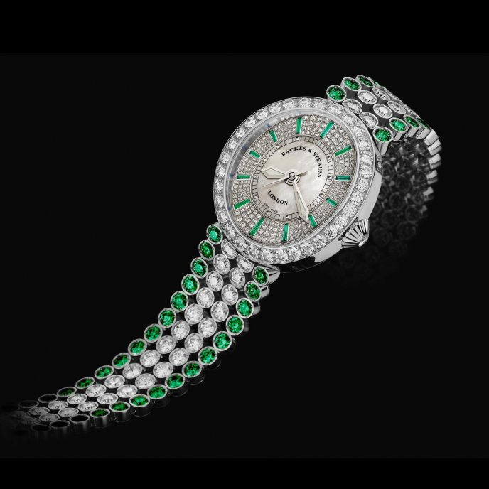 Backes & Strauss Regent Princess Emerald Green - watch face view