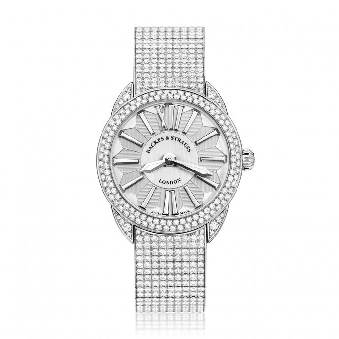 Backes & Strauss Picadilly Renaissance Diamond Bracelet White Gold Watch Face View
