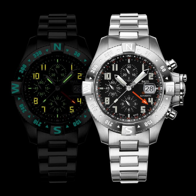 Ball Watch Engineer Hydrocarbon Spacemaster Orbital II DC3036C-SA-BK - face night view