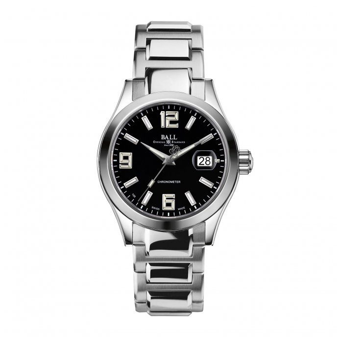 Ball Watch Engineer II Pioneer Black Steel Strap Watch-face-view