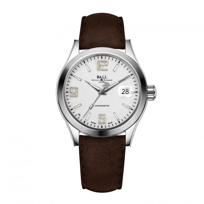 Ball Watch Engineer II Pioneer Silver Leatehr Strap Watch-face-view