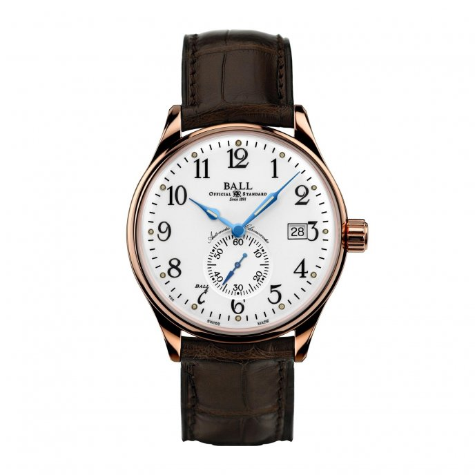 Ball Watch Trainmanster Standard Time NM3888D-PG-LCJ-WH - face view