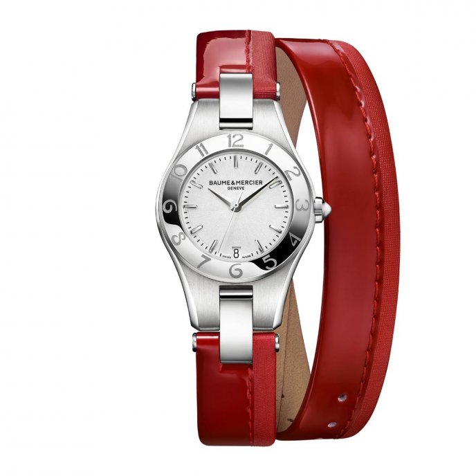 Baume & Mercier Linea 10009 Red Poppy strap - watch face view