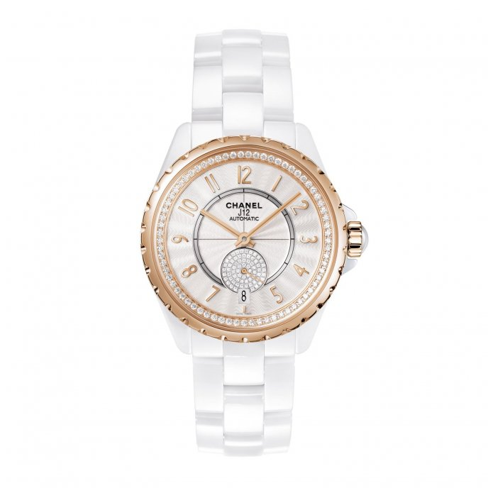 Chanel J12 365 White Beige Gold Diamonds Watch-face-view