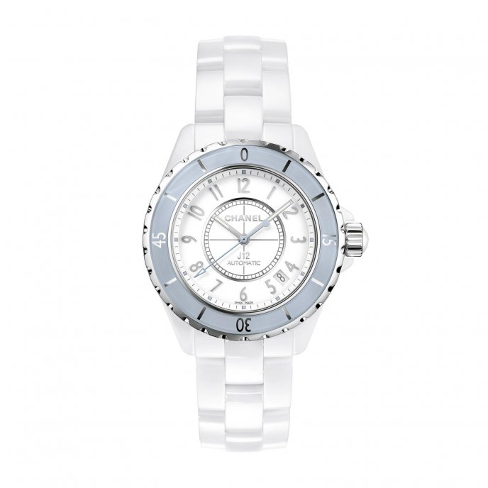 Chanel J12 Soft Blue watch face view
