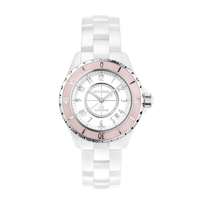 Chanel J12 Soft Rose watch face view