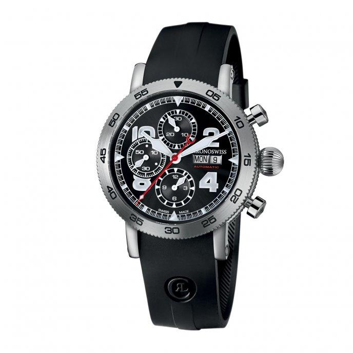 Chronoswiss Timemaster Chronograph Day Date CH 9043 BK - watch face view