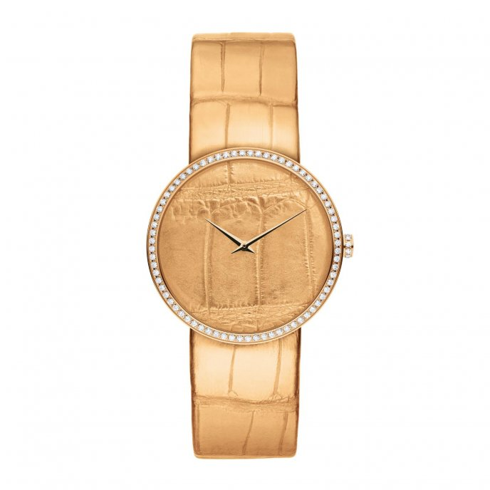 Dior D de Dior Alligator Or Rose Watch-face-view
