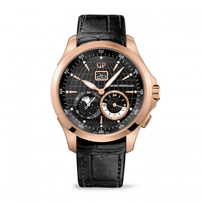 Girard Perregaux Traveller Grande Date Phase de Lune et GMT 49655-52-631-BB6A  watch face view