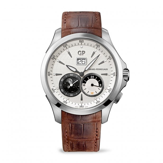 Girard Perregaux Traveller Large Date Moon Phases and GMT 49655-11-132-BB6A  watch face view