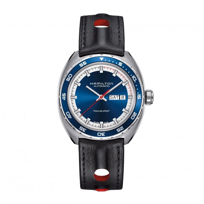 Hamilton Pan Europ Cadran H35404741 leather strap - watch face view