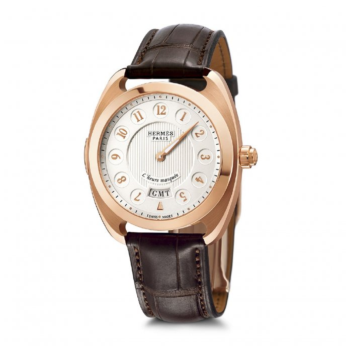 Hermes Dressage L'heure Masquée Or Rose Watch-face-view