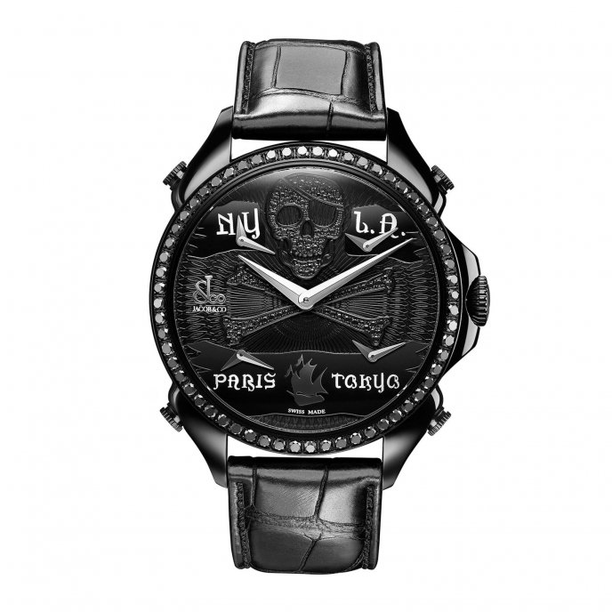 Jacob & Co. Palatial Five Time Zone 100.500.11.SO.NR.1NS - watch face view