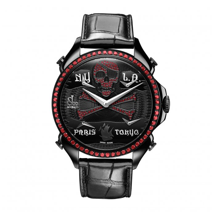 Jacob & Co. Palatial Five Time Zone 100.500.11.VO.NU.1NS - watch face view