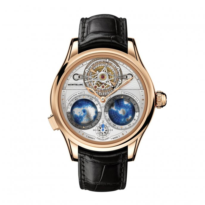 Montblanc Villeret Tourbillon Cylindrique Geosphères Vasco da Gama 111675 watch face view
