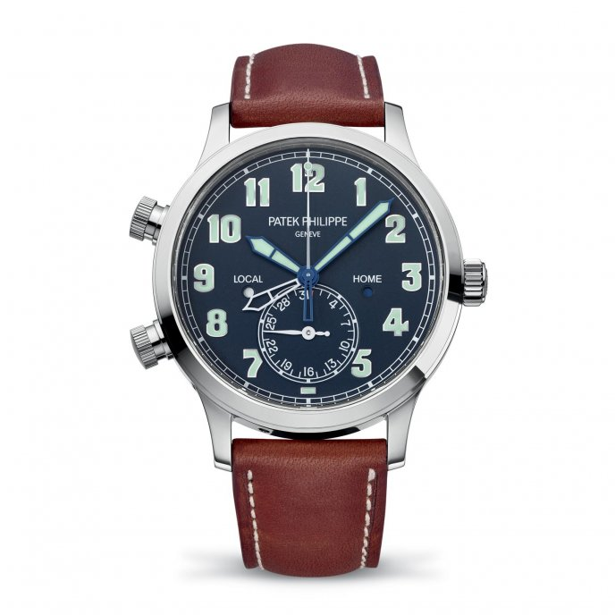 Patek Philippe Calatrava Pilot Travel Time ref. 5524 - watch face view