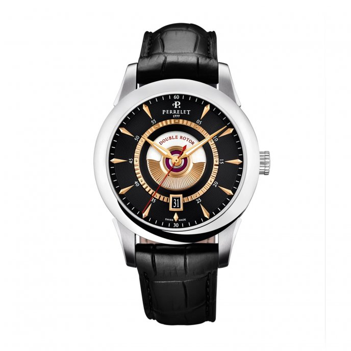 Perrelet Classic Double Rotor cadran Noir Watch-face-view