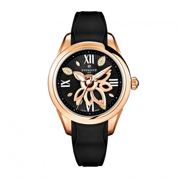 Perrelet New Diamond Flower Gold Black Caoutchouc Watch-face-view