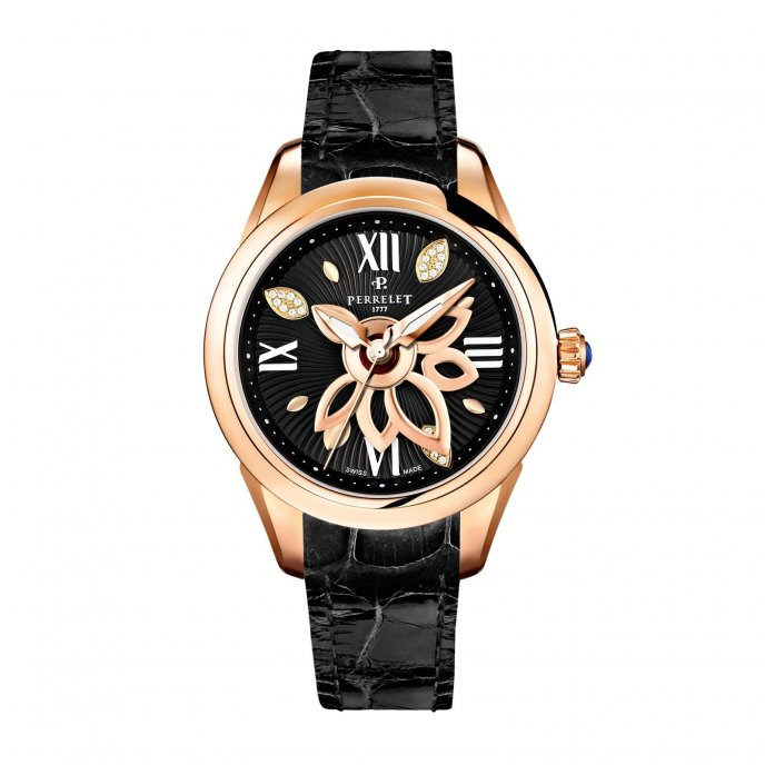 Perrelet New Diamond Flower Gold Black Cuir Watch-face-view