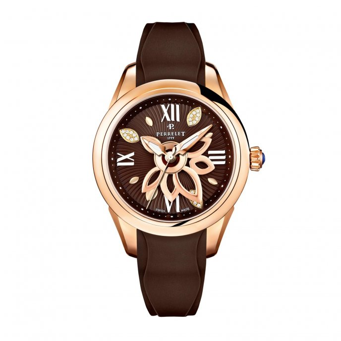 Perrelet New Diamond Flower Gold Brown Caoutchouc Watch-face-view