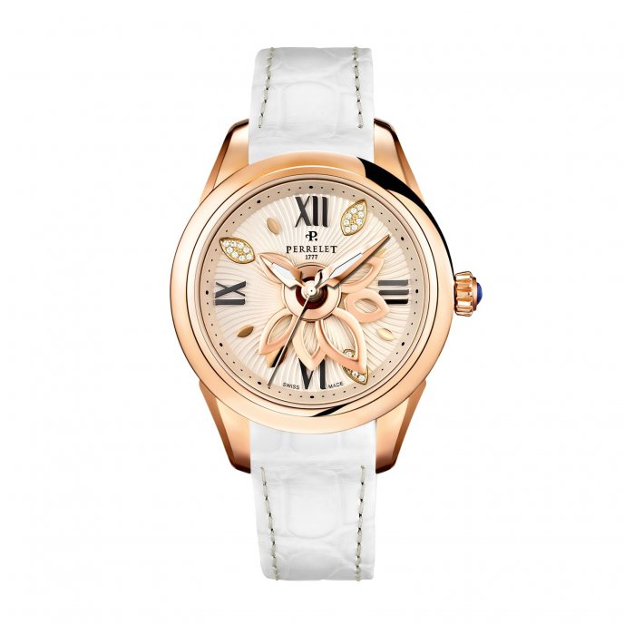 Perrelet New Diamond Flower Gold White Cuir Watch-face-view