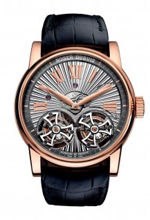 Double Tourbillon Volant en or rose avec mouvement guilloché main