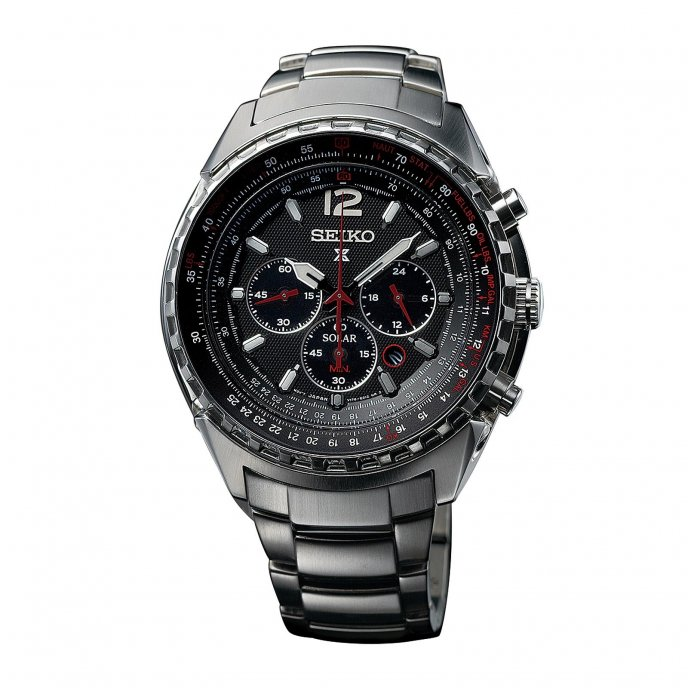 Seiko Chronographe Solaire d'Aviation SSC261 Watch-face-view
