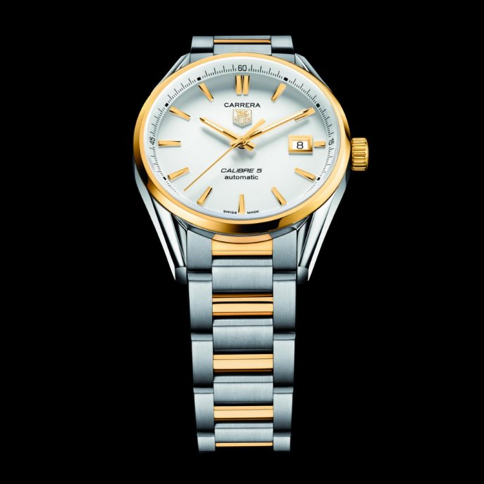 Tag Heuer Carrera Calibre 5 Automatic Steel Yellow Gold Watch-face-view
