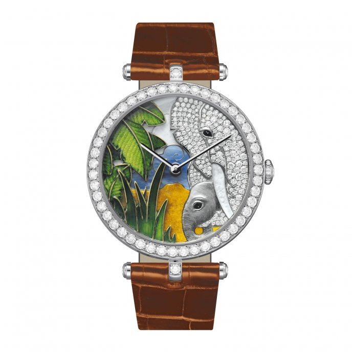 Van Cleef & Arpels Cadrans Extraordinaires Lady Arpels African Landscapes Elephant Decor VCARO22N00 - watch face view